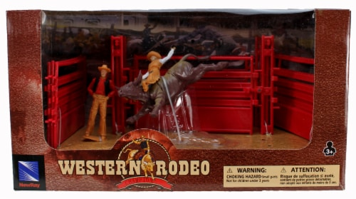 Western Rodeo Playset - Bull Riding Red Gate Perspective: front