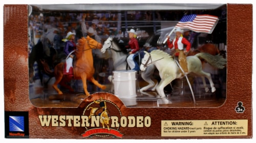 Western Rodeo Playset - Cowgirls Horses and Flag Perspective: front