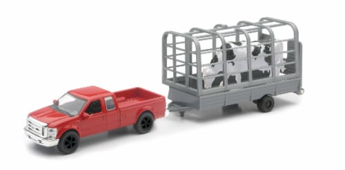 Red Ford F-250 Super Duty with Attachable Cattle Trailer Perspective: front