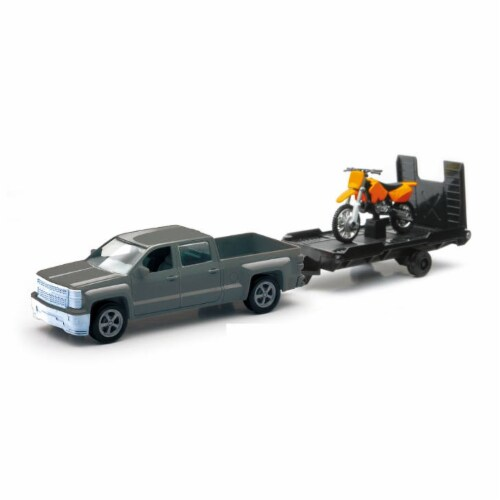 Chevrolet Silverado Die Cast Pick Up w/ Motorcycle Trailer (1:43 Scale) Perspective: front