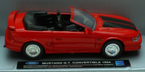 1:43 Scale Die-Cast Red 1994 Mustang G.T. Convertible Perspective: front