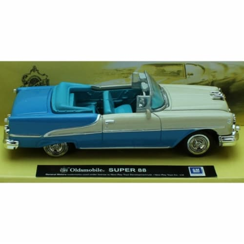 1:43 Scale Die-Cast Blue Oldsmobile SUPER 88 Convertible Perspective: front