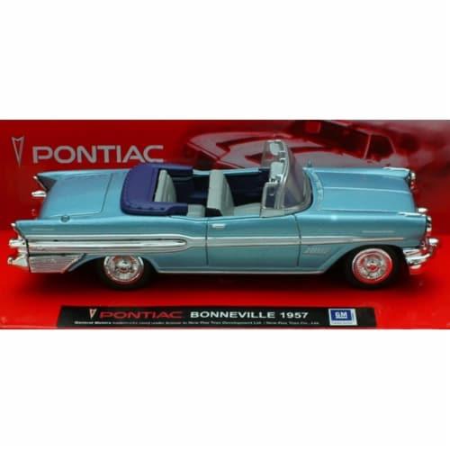 1:43 Scale Die-Cast Blue 1957 Pontiac Bonneville Convertible Perspective: front
