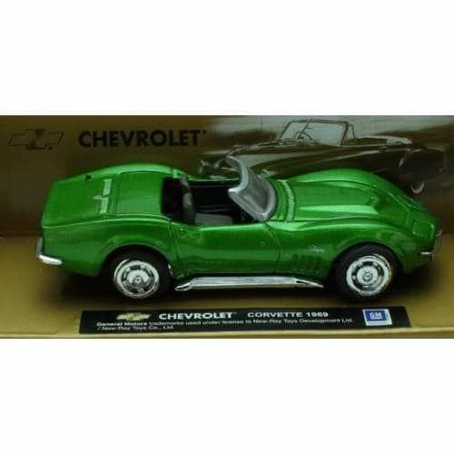 1:43 Scale Die-Cast Green 1969 Chevrolet Corvette Convertible Perspective: front
