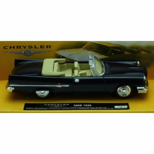 1:43 Scale Die-Cast Blue 1959 Chrysler 300E Convertible Perspective: front