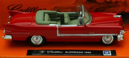 1:43 Scale Die-Cast Red 1955 Cadillac Eldorado Convertible Perspective: front