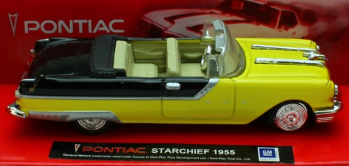 1:43 Scale Die-Cast Yellow 1955 Pontiac Starchief Convertible Perspective: front