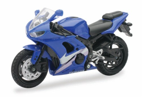 1:18 Scale Die-Cast Motorcycle - Blue Yamaha YZF-R6 Perspective: front