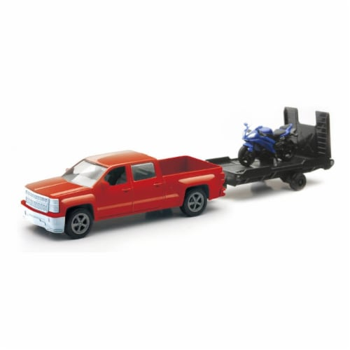 Chevrolet Silverado Die Cast Pick Up w/ Blue Motorcycle (1:43 Scale) Perspective: front
