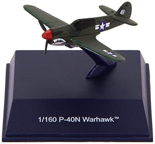 Die-Cast WWII Fighter Plane, P-40N Warhawk 1:160 Scale Perspective: front