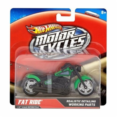 Hot Wheels 1:18 Scale Steer Power Motorcycle, Fat Ride Perspective: front