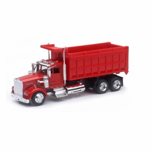 1:43 Scale Die-Cast Utility Truck, Red Dump Truck Perspective: front