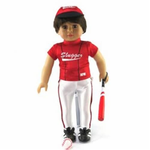 """18"""" Doll Clothing, Red Baseball Slugger Outfit with Accessories Perspective: front"""