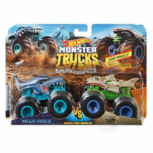 Hot Wheels Monster Trucks 1:64 Scale Demolition Doubles, Mega-Wrex vs Leopard Shark Perspective: front
