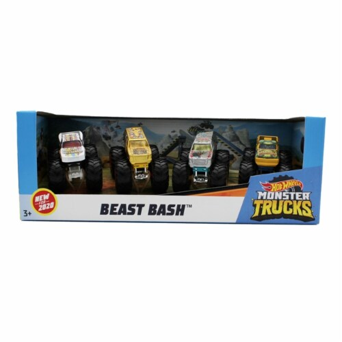 Hot Wheels Monster Trucks 1: 64, 4 Pack Vehicles, Beast Bash Perspective: front