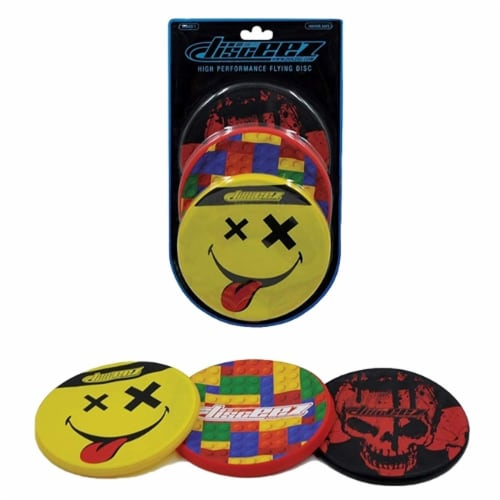 Disceez High Performance Flying Dic, 13cm, Assorted (Pack of 3), Smiley Perspective: front