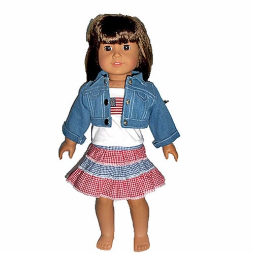 "18"" Doll Clothing Denim Jacket, Top & Red/White/Blue Skirt Perspective: front"