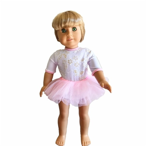 "18"" Doll Clothing White Flower Print Dance Leotard With Pink Skirt Perspective: front"