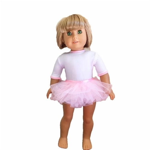 "18"" Doll Clothing White Dance Leotard With Pink Skirt Perspective: front"