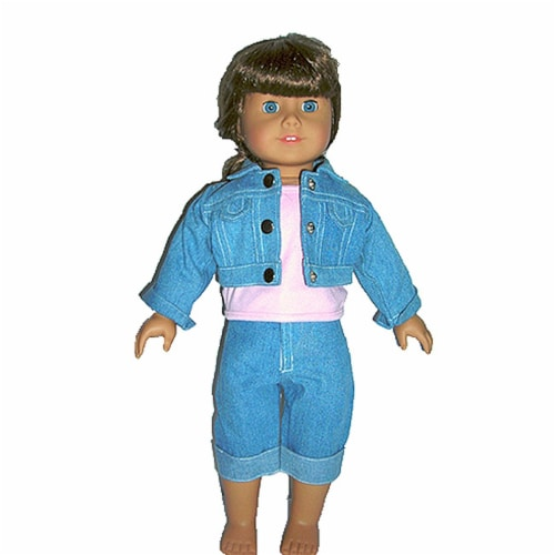 """18"""" Doll Clothing Denim Jacket, Pink Top & Jeans Perspective: front"""