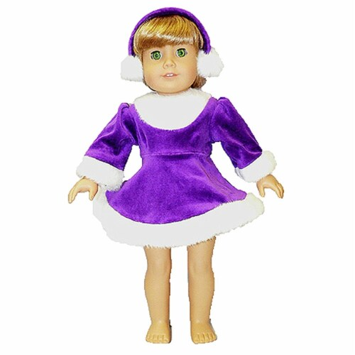 """18"""" Doll Clothing Purple and White Dress with Ear Muffs Perspective: front"""
