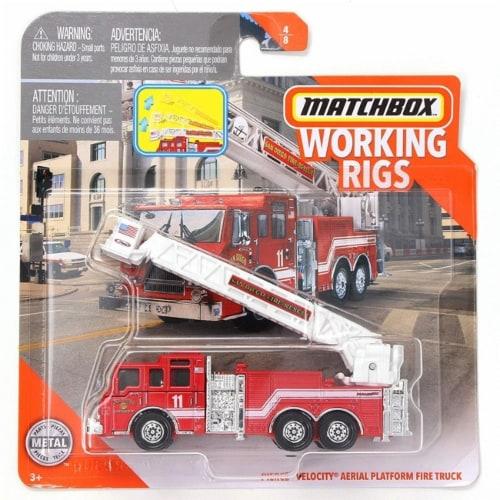 Matchbox Working Rigs Pierce Velocity Aerial Platform Fire Truck Perspective: front