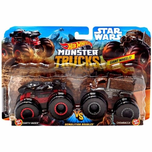 Hot Wheels Monster Trucks 1:64 Scale Demolition Doubles, Darth Vader vs Chewbacca Perspective: front