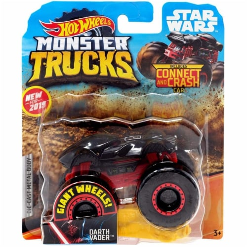 Hot Wheels Monster Trucks 1:64 Scale Darth Vader, Includes Crushable Car Perspective: front