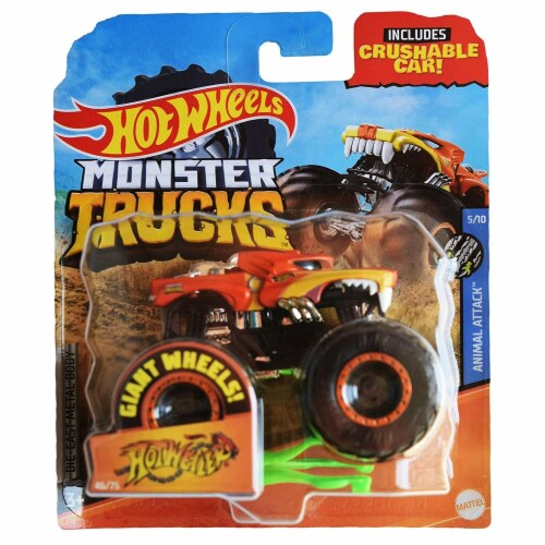 Hot Wheels Monster Trucks 1:64 Scale Hotweiler, Includes Crushable Car Perspective: front