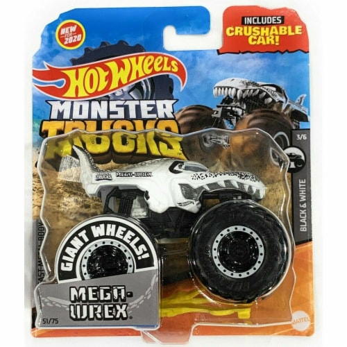 Hot Wheels Monster Trucks 1:64 Scale Mega Wrex, Includes Crushable Car Perspective: front