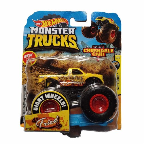 Hot Wheels Monster Trucks 1:64 Scale All Fried Up, Includes Crushable Car Perspective: front
