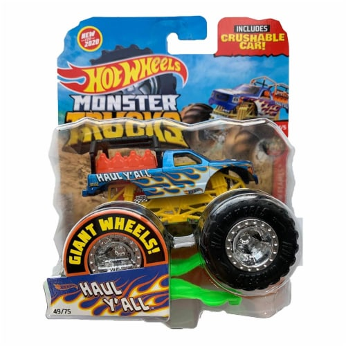 Hot Wheels Monster Trucks 1:64 Scale Haul Y-All, Includes Crushable Car Perspective: front