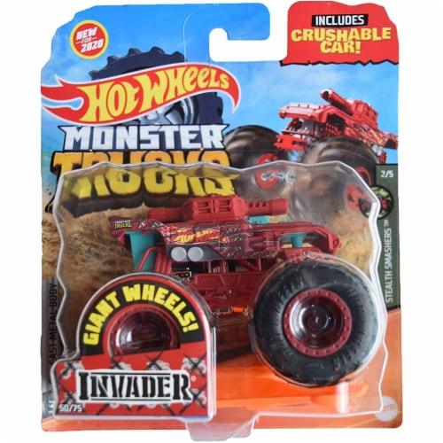Hot Wheels Monster Trucks 1:64 Scale Invader, Includes Crushable Car Perspective: front