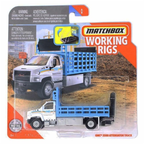 Matchbox Working Rigs GMC 3500 Attenuator Truck Perspective: front