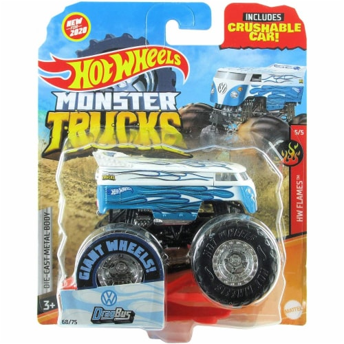 Hot Wheels Monster Trucks 1:64 Scale Drag Bus, Includes Crushable Car Perspective: front