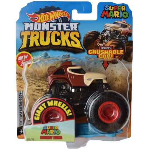 Hot Wheels Monster Trucks 1:64 Scale Super Mario Donkey Kong, Includes Crushable Car Perspective: front