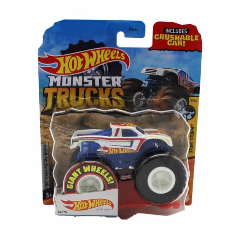 Hot Wheels Monster Trucks 1:64 Scale Hot Wheels Racing White, Includes Crushable Car Perspective: front