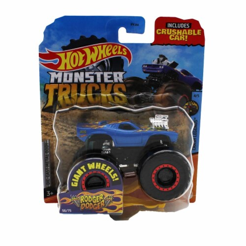 Hot Wheels Monster Trucks 1:64 Scale Rodger Dodger, Includes Crushable Car Perspective: front