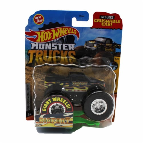 Hot Wheels Monster Trucks 1:64 Scale Big Foot, Includes Crushable Car Perspective: front