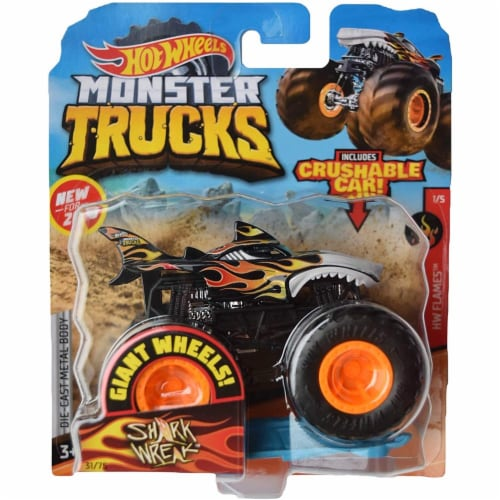 Hot Wheels Monster Trucks 1:64 Scale Shark Wreak, Includes Crushable Car Perspective: front