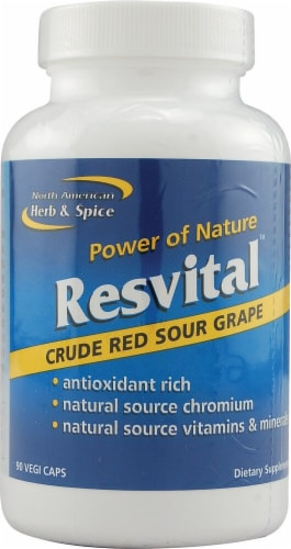 North American Herb & Spice Resvital Crude Red Sour Grape Vegi Caps Perspective: front