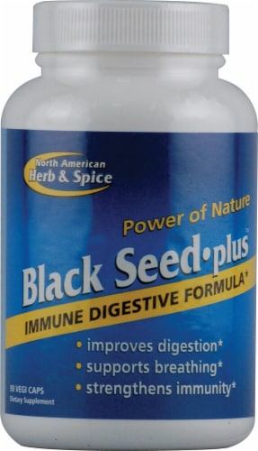 North American Herb & Spice Black Seed Plus Vegi Caps Perspective: front