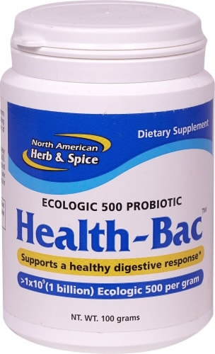 North American Herb & Spice Health-Bac Probiotic Dietary Supplement Perspective: front