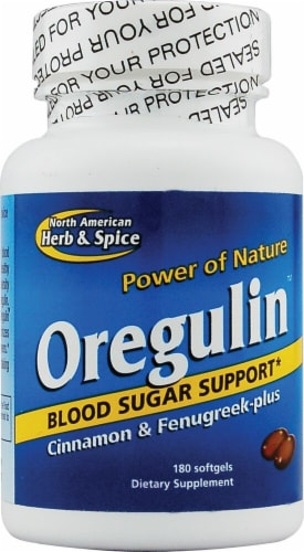 North American Herb & Spice Oregulin Cinnamon & Fenugreek Plus Softgels Perspective: front