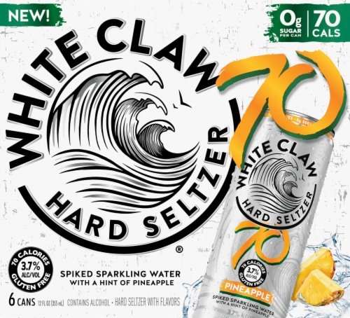 White Claw Pineapple Hard Seltzer 6 Cans Perspective: front