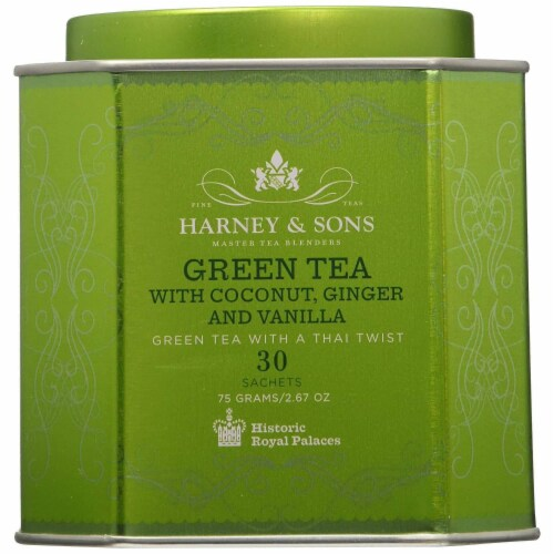 Harney & Sons Green Tea with Coconut, Ginger, and Vanilla Tea Tin 2.67 Ounces Perspective: front