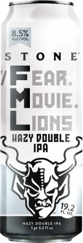 Stone Brewing Co. Fear Movie Lions Hazy Double IPA Perspective: front