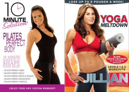 10 Minute Solution - Pilates Perfect Body / Jillians Michaels: Yoga Meltdown Workout DVD Bundle Perspective: front