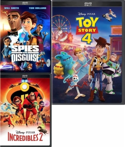 Kids DVD Pack Spies in Disguise (2019) /Incredibles 2 (2018) /Toy Story 4 (2019) Perspective: front