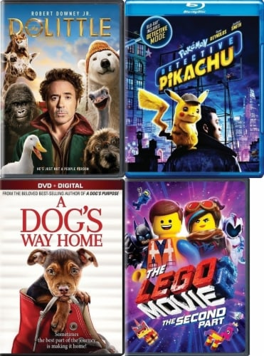 Dolittle/ Dogs Way Home/ Pokemon: Detective Pikachu/ Lego Movie 2 Kids 4-Pack (DVD) Perspective: front